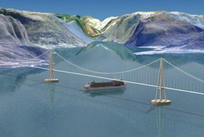 Developing unique suspension bridge on floating foundation over the Bjørna Fjord